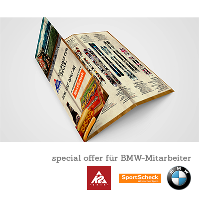 K2 Skis & Sport Scheck München - Produktflyer für BMW-Mitarbeiter