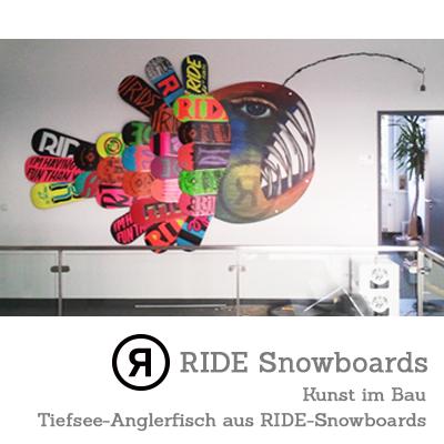 KUNST im BAU - Tiefseeanglerfisch aus RIDE-Snowboards